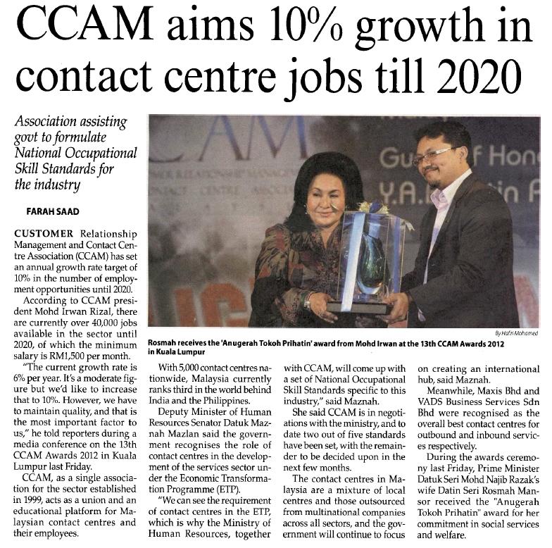 CCAM aims 10% growth in contact centre jobs till 2020