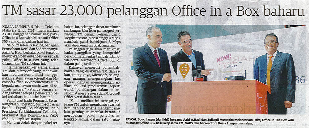 TM sasar 23,000 pelanggan Office in a Box baharu