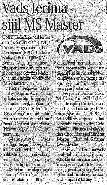 VADS terima sijil MS-Master