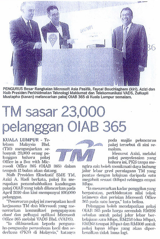TM sasar 23,000 pelanggan OIAB 365
