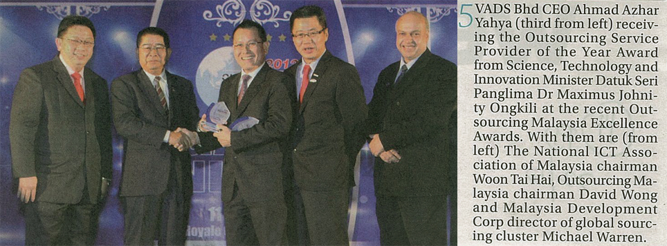 TM's VADS receive the Outsourcing Service Provider of the Year Award