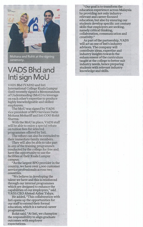 VADS Bhd and INTI sign MoU