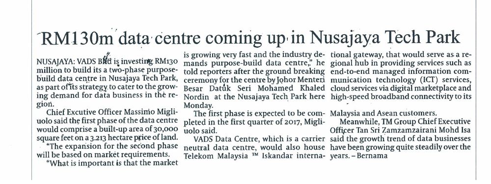 daily express - RM130m data centre coming up in Nusajaya Tech Park