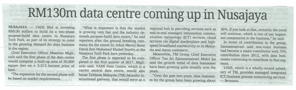 malaymail - RM130 data centre coming up in Nusajaya