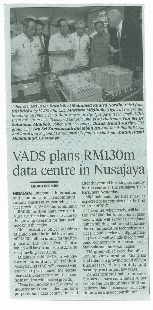 nst - VADS plans RM130m data centre in Nusajaya